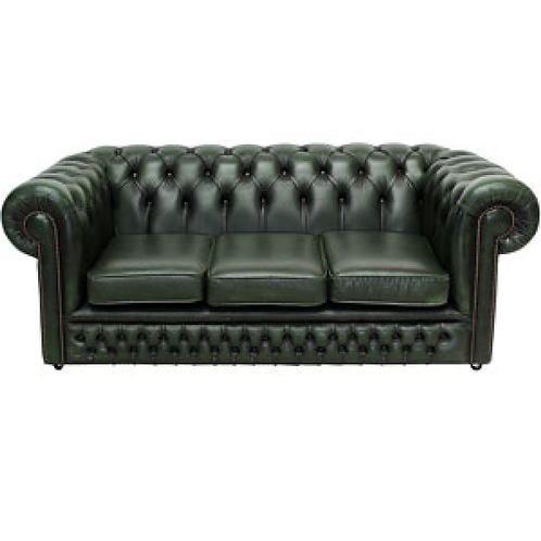 Chesterfield Leather 3 Seater Sofa Green