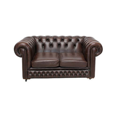 Chesterfield Leather 2 Seater Sofa Brown