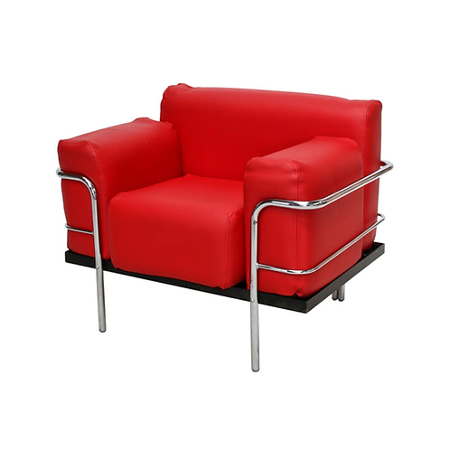Corbousier Leather Armchair Red