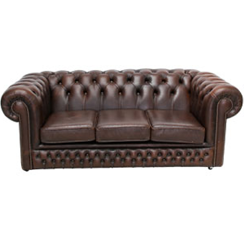 Chesterfield Leather 3 Seater Sofa Brown