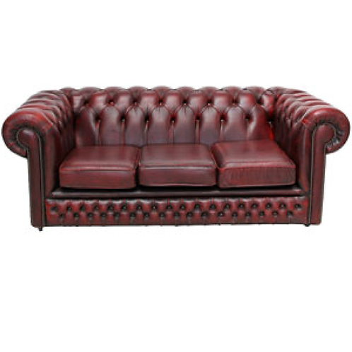 Chesterfield Leather 3 Seater Sofa Burgundy