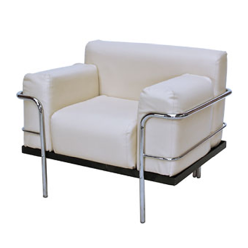 Corbousier Leather Armchair White
