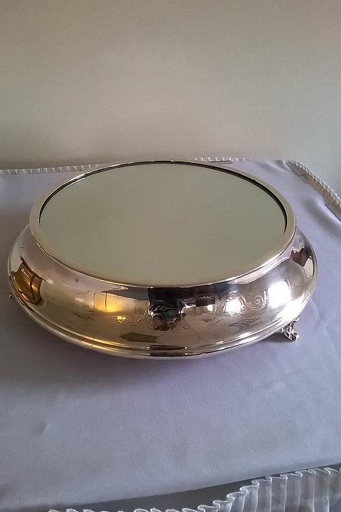 "Round Silver Cake Stand 14"" (Mirrored)"