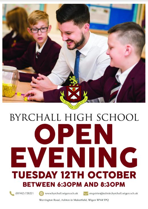 Byrchall Open Evening Poster