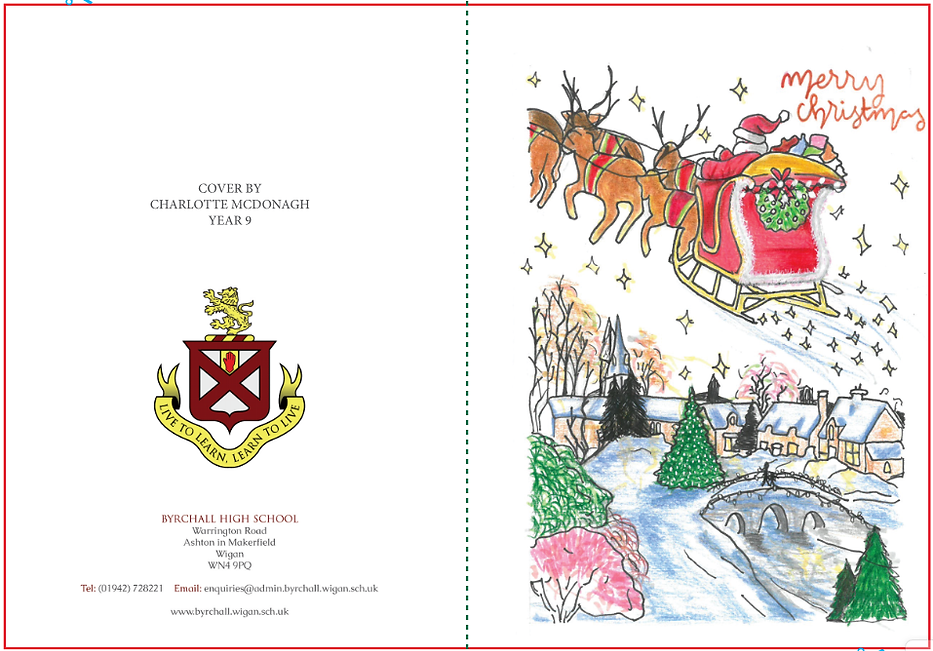 Byrchall 2020 Christmas Card front and r