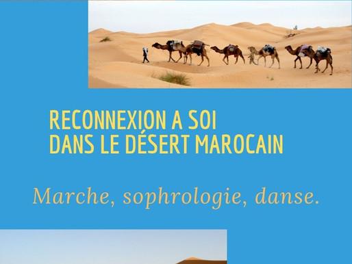 Semaine dans le désert Marocain : Sophrologie, randonnée, bivouac. Se relier à soi.