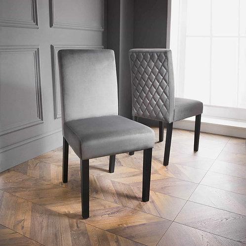 Karina Bailey Velvet Dining Chairs 2pk - Grey