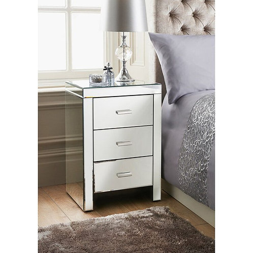Florence 3 Drawer Mirrored Bedside Unit