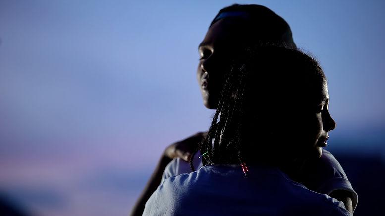 Silhouette of african american teenage c