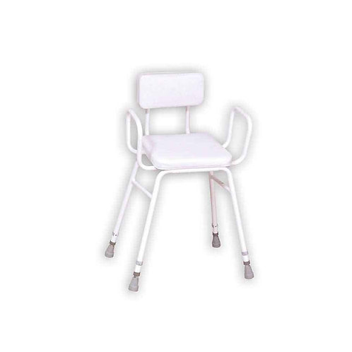 Malvern Vinyl Seat Perching Stool (with Arms + Padded Back)