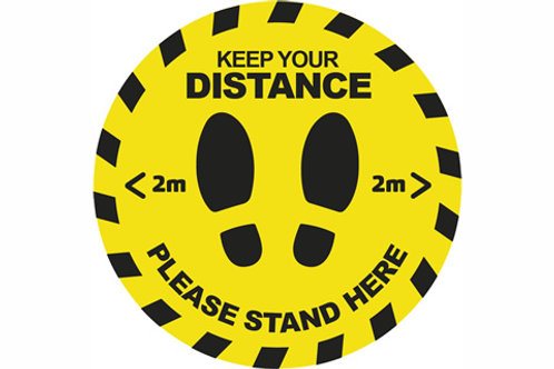 Keep Your Distance Round Floor Stickers Yellow / Black