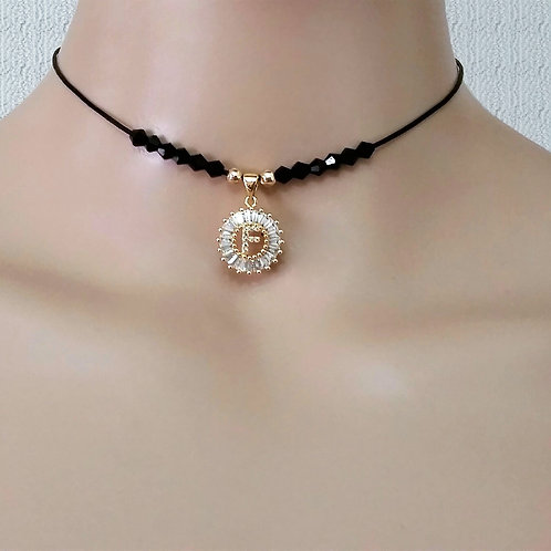 Black Leather Women Choker Necklace with Personalized Initial Letter Name Charm