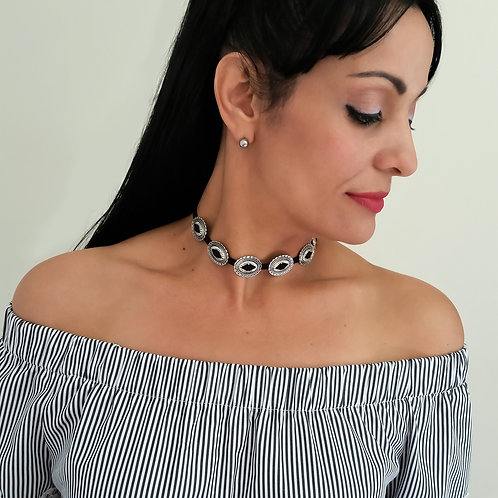 Trendy Black Women Choker Necklace with Antique Silver Retro Pendants