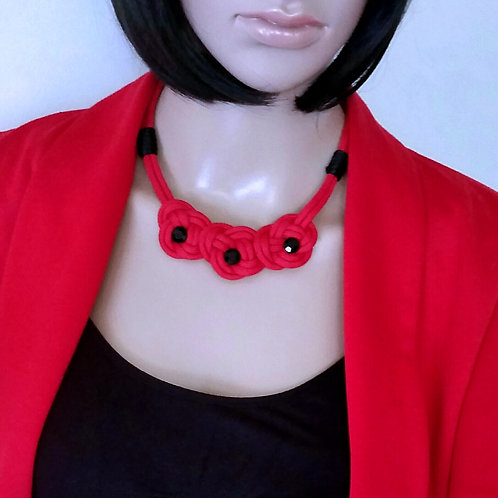 Cute Three Flower Knotted Red Rope Cord Necklace