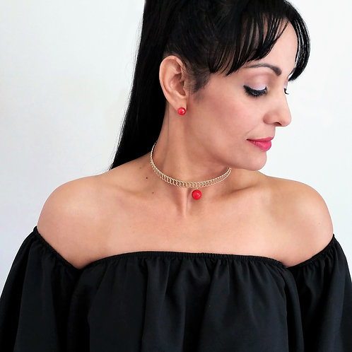 Red Single Pearl Choker Necklace Set for Women / Gold Metal Women Choker