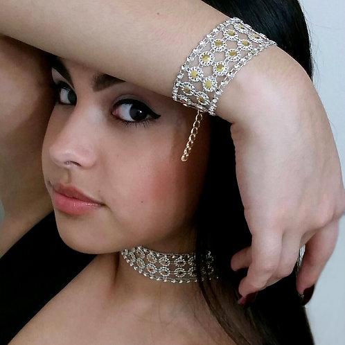 Fashion Unique Gold Sparkly Rhinestone Statement Choker Necklace Set