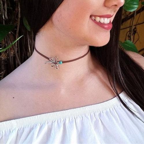 Women & Girls Brown Choker, Tiny, Dainty, Minimalist Choker Necklace, Dragonfly