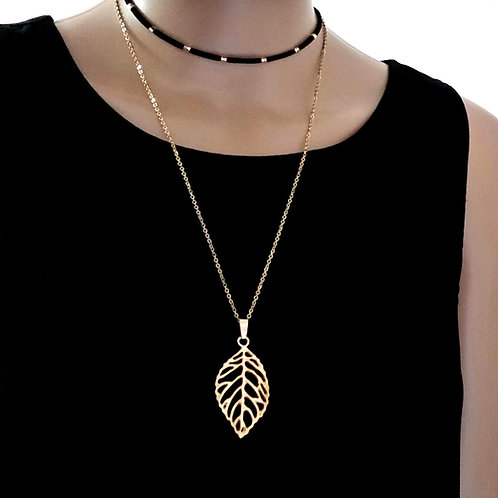 Double Layer Gold Leaf Pendant Necklace, Fashion long chain Choker Necklace