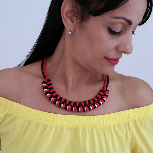 Colorful Red and Black Braided Rope Cord Necklace