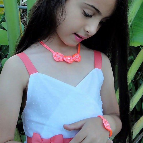 Pink Necklace Set for Girls Front View