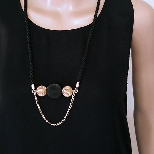 Retro Black Gold Long Fashion Rope Necklace