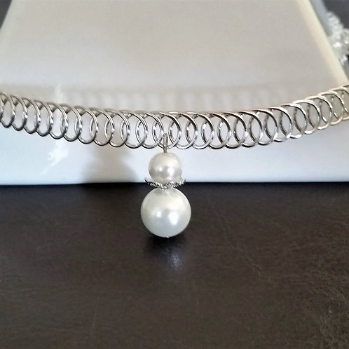 Single Pearl Choker Necklace for Women / Silver Metal Women Choker