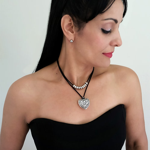 Black & Silver Double Layer heart charm pendant Suede Leather Choker Necklace