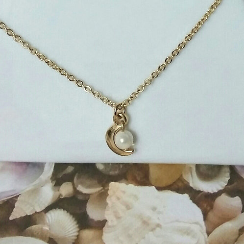 Tiny Gold Crescent Moon Chain Choker Necklace, Dainty moon Charm  Choker