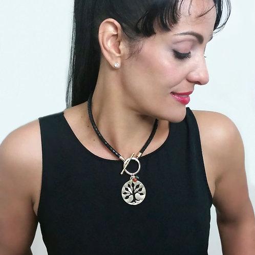 Black & Gold Women Necklace, Fashion Unique Handmade Leather Necklace
