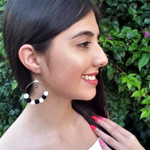 Bohemian Style Dangle, Long, Pompom Hoop Earrings Multi - Color