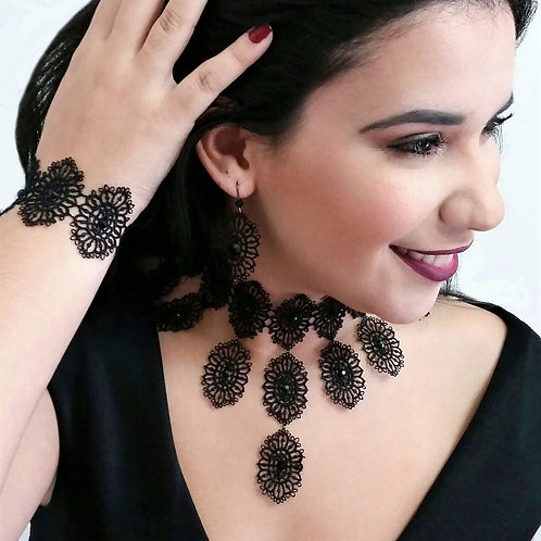 Black Victorian Lace Choker Necklace Set, Chic Tassel Fashion Women Necklace
