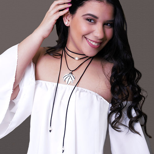 Layered Black Women Choker, Natural Shell Pendant Bohemian Suede Necklace