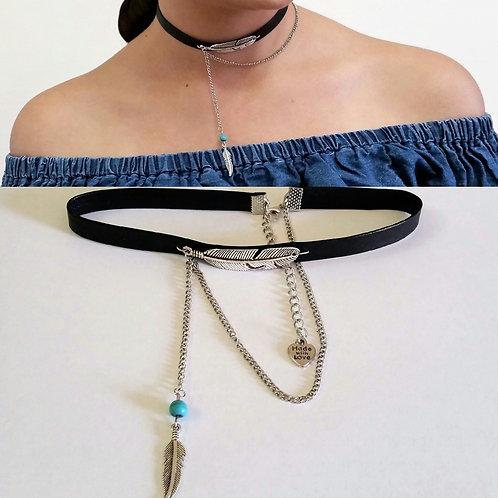 Black & Silver Feather Pendant Vintage Bohemian Leather Choker for Women