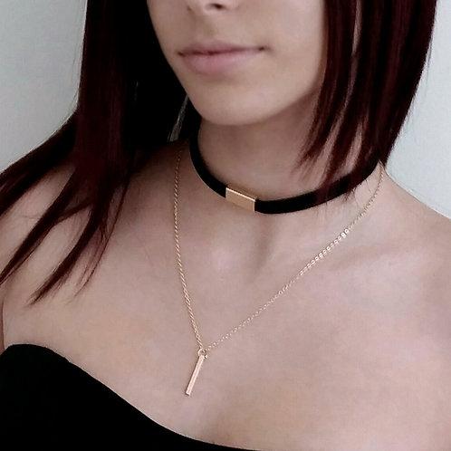 Fashion Trendy Velvet Pendant Chain, Layered Women Girl Choker, Retro Choker