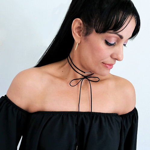 Sexy Long Layered Lace Up Suede Cord Choker Necklace