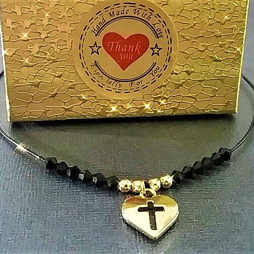 Heart Engrave Cross Charm Pendant Choker, Simple Black Leather Women Choker