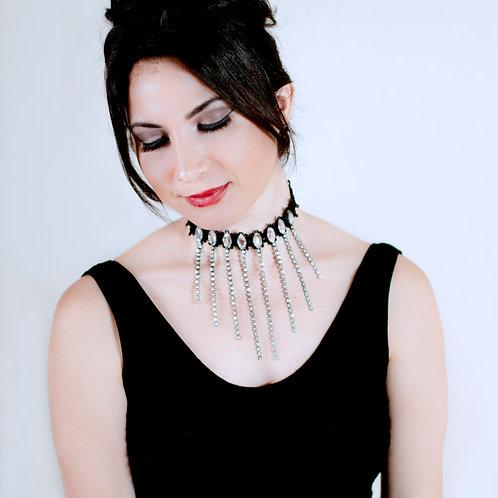 Black Tassel Sparkly Rhinestone Lace Choker Necklace