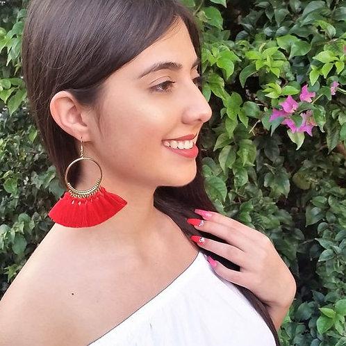 Boho, Ethnic, Tassel Hoop Dangle Earrings Multi Colors