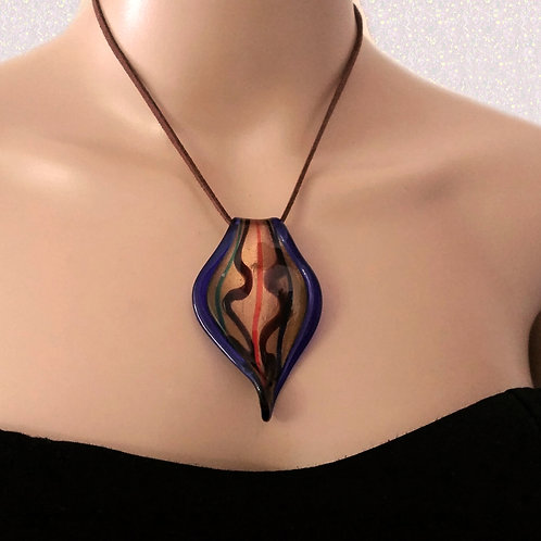 Brown Suede Leather Women Necklace with murano Glass Pendant Handmade Design
