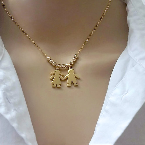 Boy & Girl Charm Pendant Mom Necklace Front View