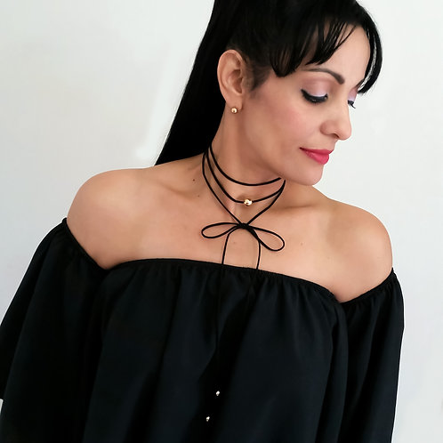 Black Long Layered Lace Up Suede Cord Casual Women Choker Necklace