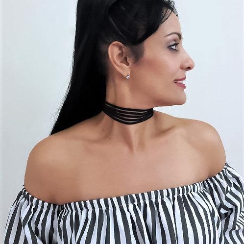 Black Layered Women Fashion Choker Necklace Front View