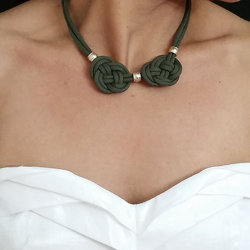 Cute Olive Green Celtic knot Rope Necklace