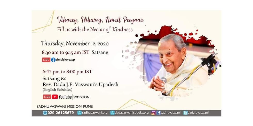 Dada Vaswani's Sacred Monthly Yagna | November 12th  | Online Satsang & Upadesh (Subtitles)
