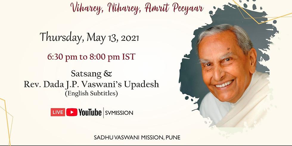 Sacred 13th May 2021   LIVE Satsang & Dada Vaswani's Upadesh (English subtitles)