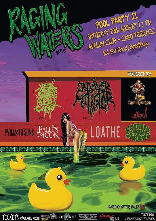 Raging Waters Pool Party II metal rock blues live concert Malta