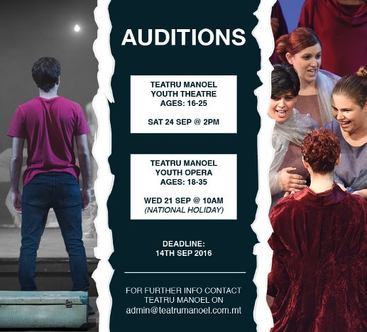 Auditions for Teatru Manoel Youth Theatre and Opera are open