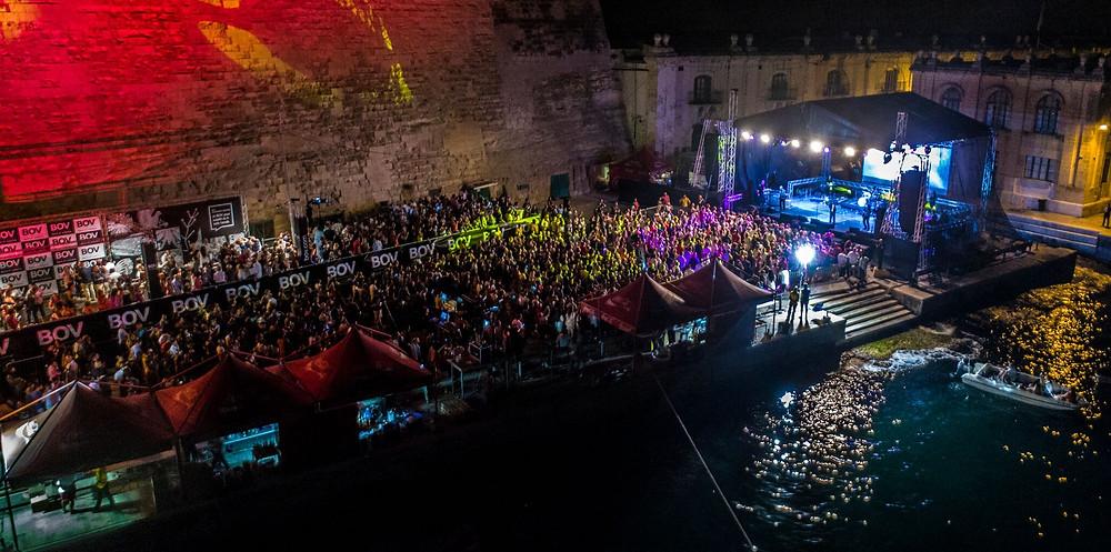 Drone photo of the Ivan Grech concert at Ta' Liesse, Valletta