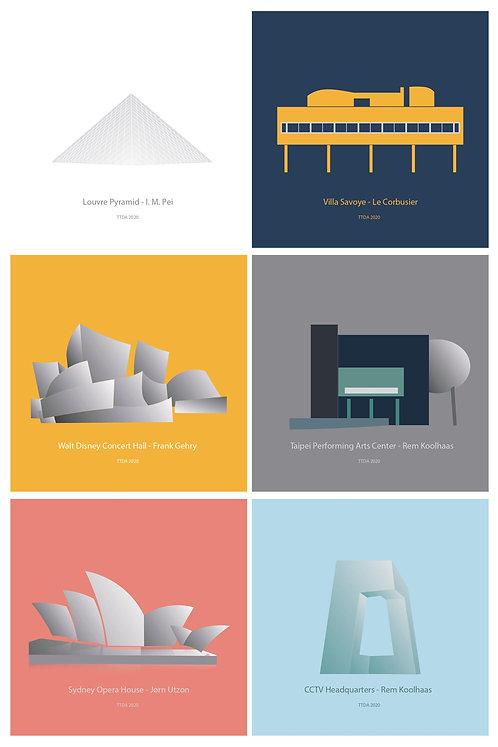 現代建築系列 貼紙