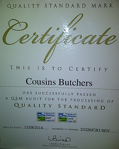 Cousins certified by EBLEX for quality standard of our beef and lamb